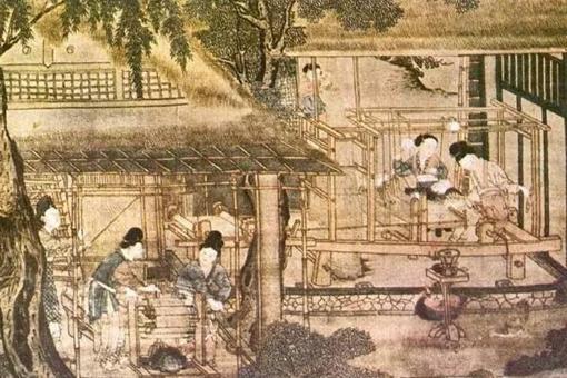 Oude Chinese afbeelding met linksvoor de zijde spinners en rechtsachter de wevers
